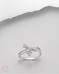 Inel argint model fundita si floare cu cristale Zirconia