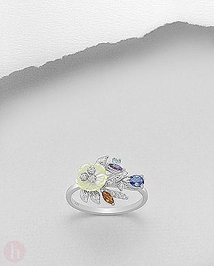 Inel cu pietre semipretioase ametist, citrin, Zirconia