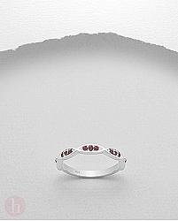 Inel argint tip verigheta cu cristale Zirconia rosii