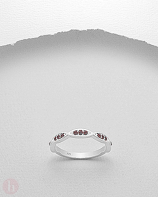 Inel Argint Tip Verigheta Cu Cristale Rosii