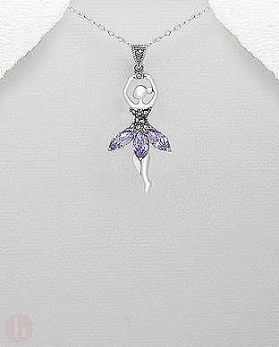 Pandantiv argint balerina cu cristale Zirconia si marcasite