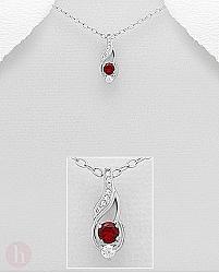 Pandantiv argint Cubic Zirconia rosu si alb