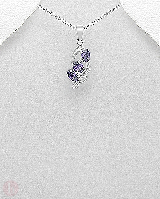 Pandantiv argint Cubic Zirconia violet si albe