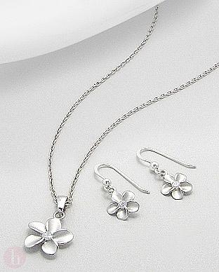 Set argint pandantiv si cercei model floare