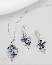 Set cercei si pandantiv 2 flori albastre