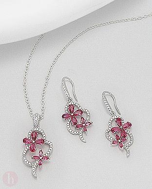 Set cercei si pandantiv 2 flori roz