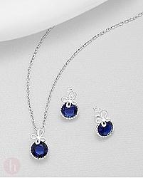 Set cercei si pandantiv cristal albastru si fluture