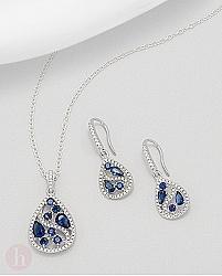 Set cercei si pandantiv cu cristale albe si albastre