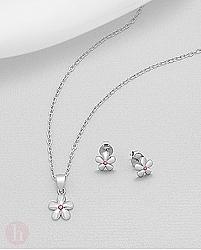 Set cercei si pandantiv model floare mijloc roz