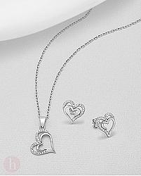 Set cercei si pandantiv inimioare cu cristale
