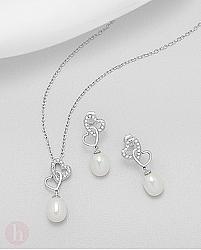 Set cercei si pandantiv cu perle model inimioare
