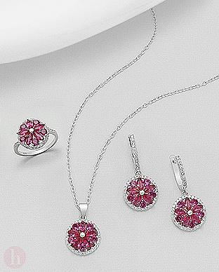 Set inel, pandantiv si cercei floare roz