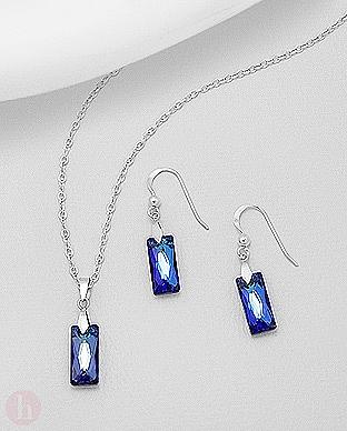 Set pandantiv si cercei cu cristale Swarovski albastre