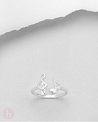 Inel ajustabil argint note muzicale