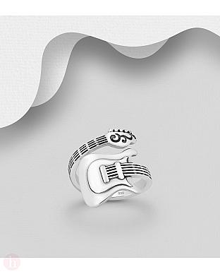Inel ajustabil din argint, model chitara
