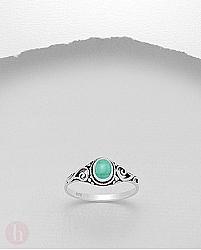 Inel argint spirale cu turcoaz