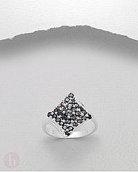 Inel mare argint romb cu cristale Zirconia negre