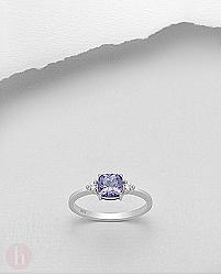 Inel argint cu cristale Zirconia albe si mov