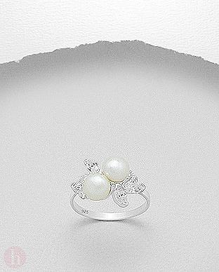 Inel argint cu perle albe si cristale  Zirconia