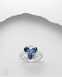 Inel argint floare cu 3 petale Cubic Zirconia albastre si albe