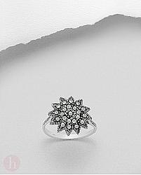 Inel argint floare cu marcasite