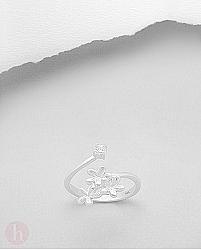 Inel argint ajustabil flori si cristale Zirconia