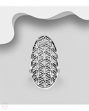 Inel supradimensionat din argint, model Flower of Life