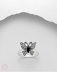 Inel argint fluture cu marcasite si onix