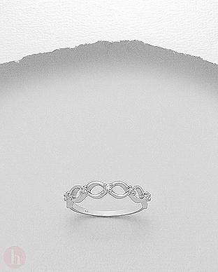 Inel argint impletit cu cristale Zirconia albe