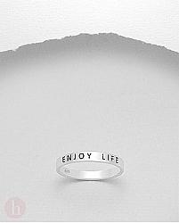 Inel argint mesaj Enjoy Life
