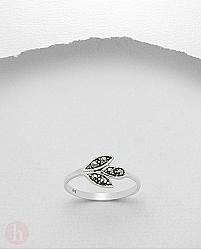 Inel argint model frunza cu marcasite