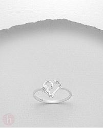 Inel argint model inimioara incuiata cu cristale Zirconia