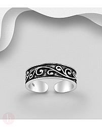 Inel argint pentru picior cu spirale