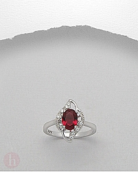 Inel argint cristale Zirconia rosii si albe