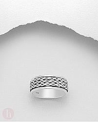 Inel barbatesc din argint, model rotativ cu banda tripla impletita