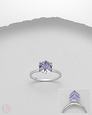 Inel de logodna cu cristal Swarovski mov