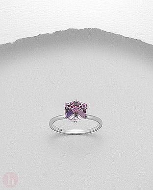 Inel de logodna cu cristal Swarovski roz