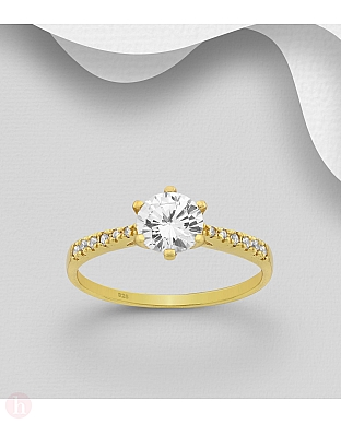 Inel de logodna din argint placat cu aur, model cu cristale