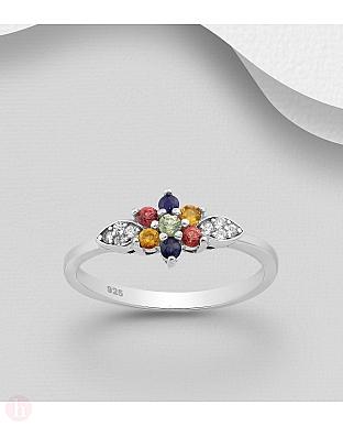 Inel din argint cu floare colorata si frunze