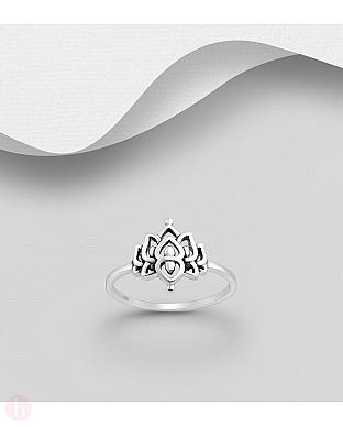 Inel din argint cu floare de lotus
