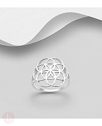 Inel din argint cu floarea vietii