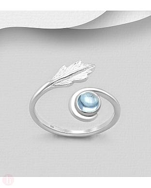 Inel din argint cu frunza si piatra bleu
