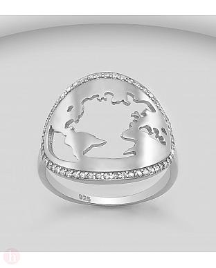 Inel din argint cu harta lumii si cristale
