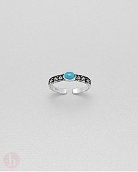 Inel din argint pentru deget picior cu marcasite si piatra turcoaz