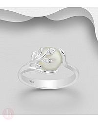 Inel din argint cu perla, frunze si cristale