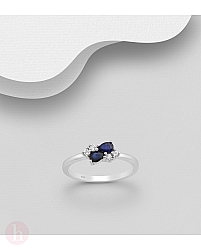 Inel din argint cu pietre albe si albastre
