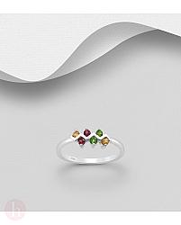Inel din argint cu pietre colorate