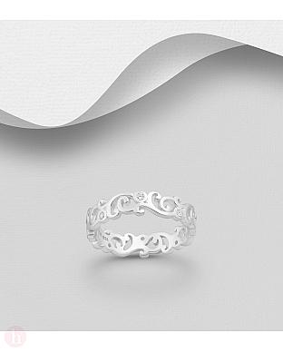 Inel din argint cu spirala si cristale