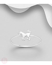 Inel din argint cu unicorn