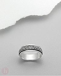Inel din argint impletit, model rotativ